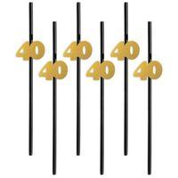 Słomki party na 40 URODZINY złote liczby 6 szt