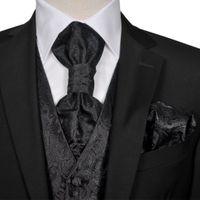 Męska Kamizelka Ślubna Z Kwiatowym Wzorem W Zestawie Rozm. 50 Czarna