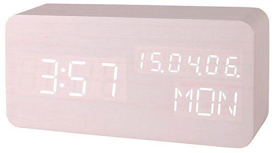 XONIX GHY-018 Drewniany budzik na baterie, datownik, termometr, sterowanie głosowe