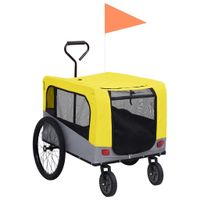 Przyczepka rowerowa 2-w-1, dla zwierząt i do biegania, żółty-szary
