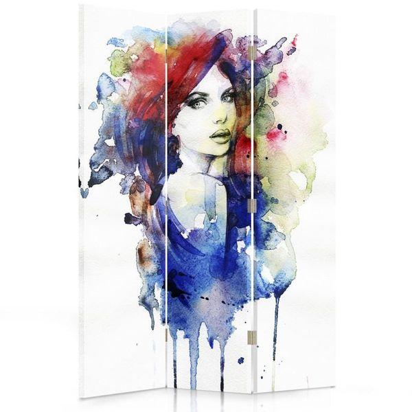 Parawan pokojowy, trzyczęściowy, jednostronny, na płótnie Canvas, Watercolor women 110x150 zdjęcie 1