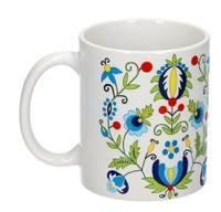 Kubek folk - wzory kaszubskie - haft żukowski (duże kwiaty)