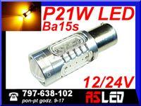 żarówka LED P21W ba15s 5 COB do kierunków USA przebija czerwony klosz