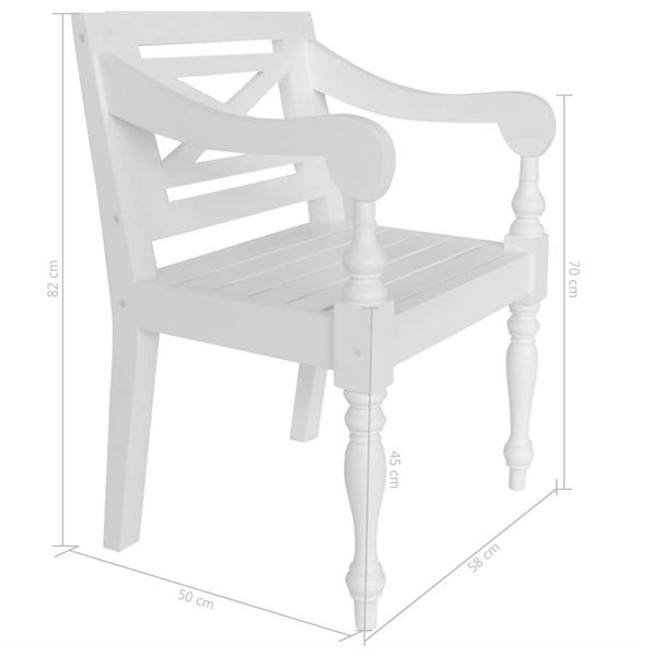 Krzesło Krzesła Ogrodowe Drewniane 2 Sztuki Białe 58x50x82cm