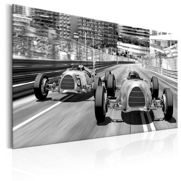 Plakat Metalowy Styl Retro Stare Samochody Wyścigowe Allplate Rozmiar 46x31