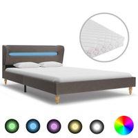 Łóżko LED z materacem, taupe, tkanina, 120x200 cm
