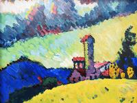 Reprodukcje obrazów Study for Landscape with tower - Wassily Kandinsky Rozmiar - 60x45