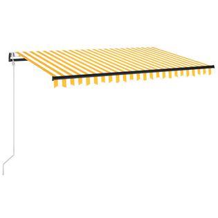 Automatycznie zwijana markiza, LED i czujnik wiatru, 450x350 cm