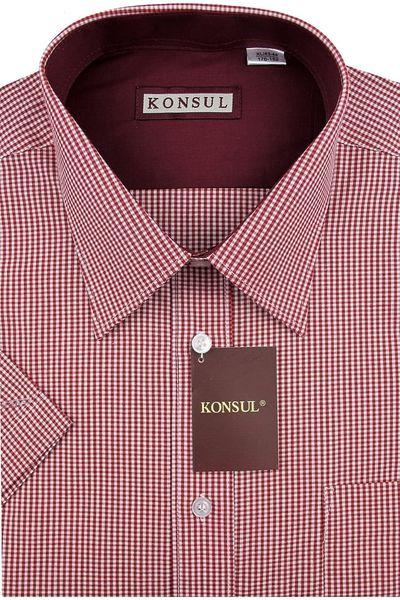 Koszula Męska Konsul czerwona w kratkę na krótki rękaw K588 L 41 176/182 zdjęcie 1