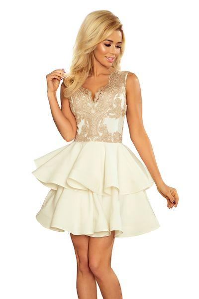 c3568fd54fcf3b 200-1 CHARLOTTE - ekskluzywna sukienka z koronkowym dekoltem - ZŁOTY  Rozmiar - XL zdjęcie