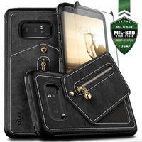 Zizo Nebula Wallet Case - Skórzane etui Samsung Galaxy Note 8 (2017) z kieszeniami na karty + saszetka + szkło 9H