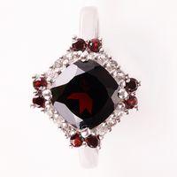NELL RED Srebrny pierścionek zaręczynowy duży naturalny granat - R20