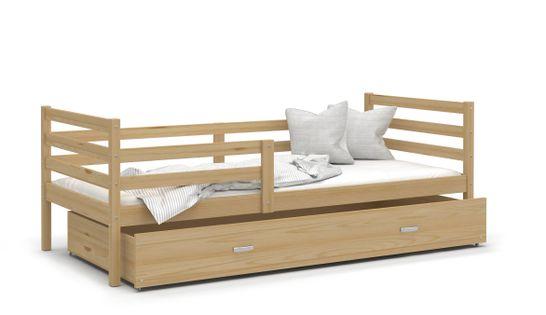 Łóżko JACEK P 160x80materac + szuflada - drewniane