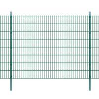 2D Panele i słupki ogrodzeniowe 2008x1630 mm 8 m zielone