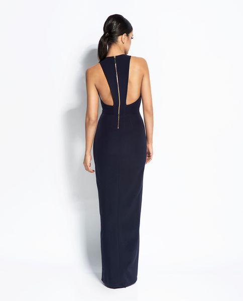 bc64d7cd28 Długa suknia z rozcięciem Giselle - Granat Rozmiar - M • Arena.pl