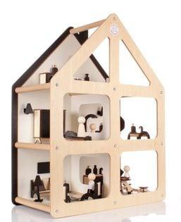Drewniany domek dla lalek z wyposażniem NATURALNY