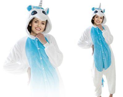 Niebieski jednorożec Kigurumi Onesie dres piżama kombinezon S