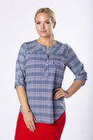 Wzorzysta bluzka o koszulowym kroju z guzikami na biuście - Multikolor 58