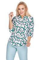 Bluzka o koszulowym kroju z dekoltem w serek - Multikolor 46