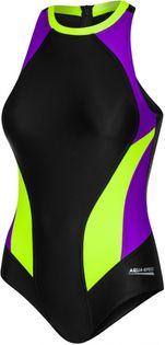 Kostium pływacki NINA Rozmiar - Stroje damskie - 36(S), Kolor-Nina - 19 - czarny/fioletowy/fluo żółty