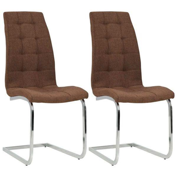 Krzesła Stołowe, 2 Szt., Brązowe, Tkanina zdjęcie 1