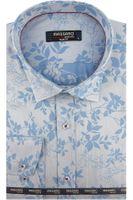 Koszula Męska Massaro niebieska w kwiaty na długi rękaw w kroju SLIM FIT A411 L 41 176/182