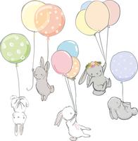 NALEPKI zestaw ZAJĄCE naklejki ŚCIANĘ balony KRÓLIKI ścienne dzieci M