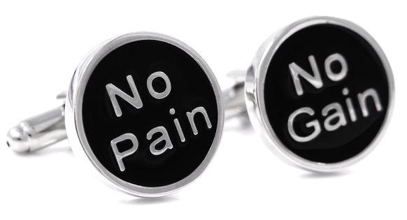 No Pain No Gain - srebrno-czarne spinki do mankietów U10