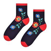 Skarpetki damskie folk - kwiat łowicki - czarne tło - 35-37