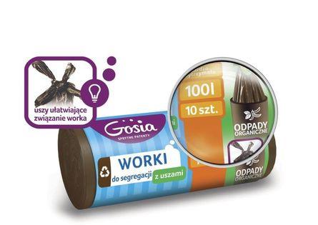 Gosia Worki Do Segregacji 100l Brązowe A10 4416 Z Uszami Na Odpady Organiczne