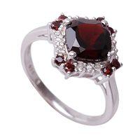 NELL RED Srebrny pierścionek zaręczynowy duży naturalny granat - R19
