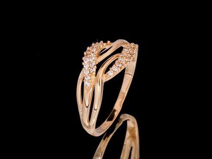 P578 Złoty pierścionek z cyrkoniami. Próba 585