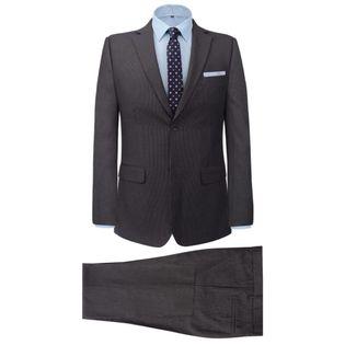 2-częściowy garnitur biznesowy męski szary w paski rozmiar 46