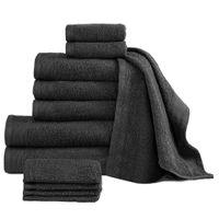 Komplet 12 ręczników, bawełna, 450 g/m², czarny