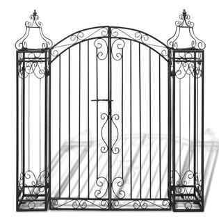 Ozdobna brama ogrodowa z kutego żelaza 122x20,5cm wys. 134cm