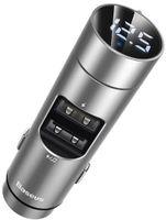 Transmiter FM Baseus Energy Column, Bluetooth 5.0, 2x USB, 3.1A (srebrny)