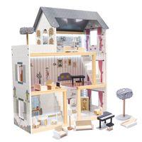 Domek dla lalek MDF drewniany z akcesoriami LED 62x27x70cm
