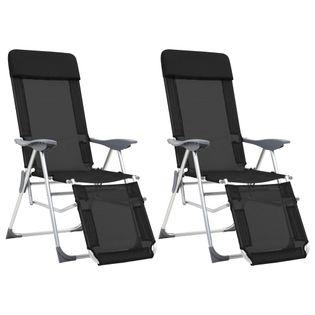 Składane Krzesła Turystyczne Z Podnóżkami, 2 Szt., Czarne