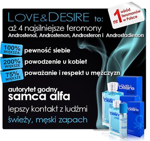 PERFUMY Z FEROMONAMI LOVE DESIRE MĘSKIE NOWE 100ML na Arena.pl