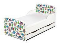 Łóżko dla dzieci 140x70 z materacem i szufladą Wesołe Ufoludki 248003S