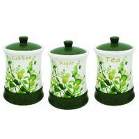 Zestaw 3 Pojemników Ceramicznych Na Kawę, Herbatę I Cukier Maestro Mr-20032-03Cs