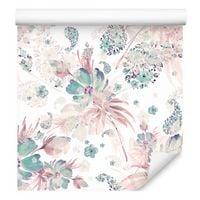 Tapeta do sypialni kwiaty rośliny liście pastelowe