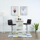 Krzesła barowe, 2 szt., sztuczna skóra, brązowe