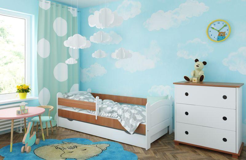 Łóżko AMELIA 140x80 szuflada + barierka zabezpieczająca + MATERAC zdjęcie 1