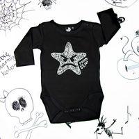 Rockowe czarne body dziecięce z długim rękawem Rock Star Mia Rock 56