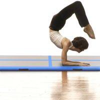 Mata gimnastyczna z pompką 300x100x10cm PVC niebieska VidaXL