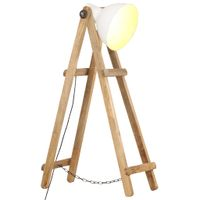Lampa podłogowa, biała, E27, lite drewno mango