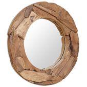 Lustro dekoracyjne, drewno tekowe, 80 cm, okrągłe