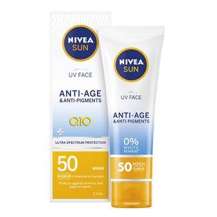 Nivea Sun Uv Face Anti-Age Q10 Przeciwzmarszczkowy Krem Do Twarzy Spf50 50Ml