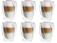 Szklanki Termiczne z Podwójną Ścianką do Kawy Latte Herbaty 300ml 6szt